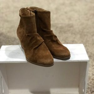 Tan suede Franco Sarto booties